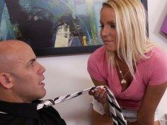 Hot blonde teen Vanessa Cage seduces serious businessman