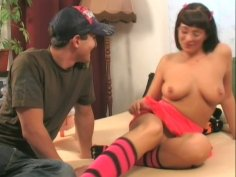 Dirty teen gal masturbates on a bed using her favorite sex toy