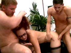 Redhaired busty model Kitty Caulfield in threesome fuck