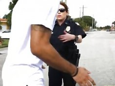 Horny big cocked stud fucking two nasty police officers in uniform
