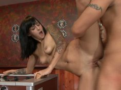 Brunette slut Presley Maddox is fucked in doggy style