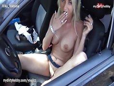 MyDirtyHobby Busty German MILF outdoors solo masturbation