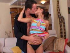 Dude undresses skinny Sunny Jay and makes her blow his dick