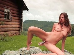 Teen fingers muff doggy style in a softcore act