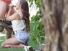 Perky tits gf tries out anal sex with hard dick outdoors