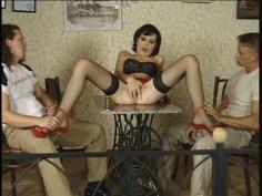 Brunette sweet lady Leda Paris fucking in threesome