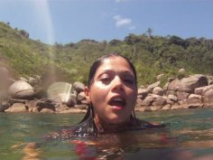 Laguna bitch Gina Jolie getting wild in nature